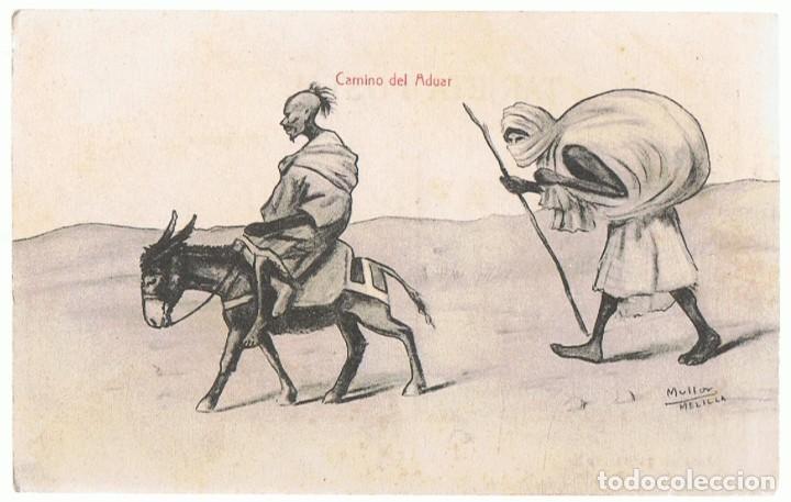 POSTAL CARICATURA RIFEÑOS CAMINO DEL ADUAR MELILLA (Postales - Dibujos y Caricaturas)