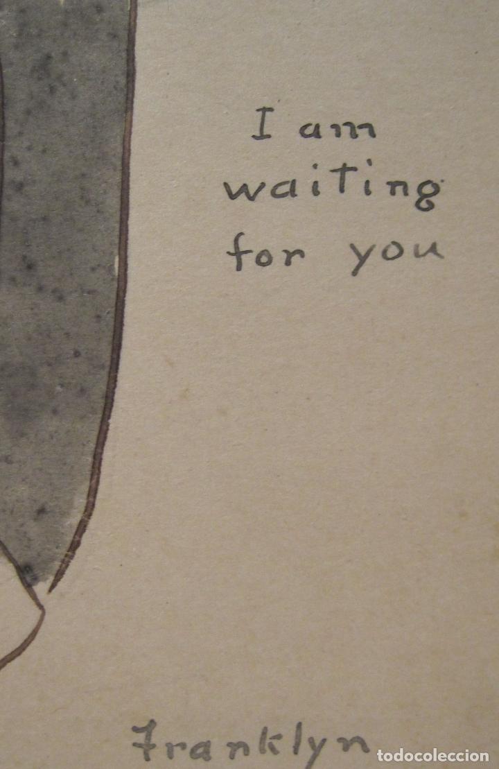 Postales: DIBUJO TINTA AGUADA DE FRANKLYN SOBRE UNA POSTAL. I AM WAITING FOR YOU. 14 X 9 CM - Foto 2 - 201223825