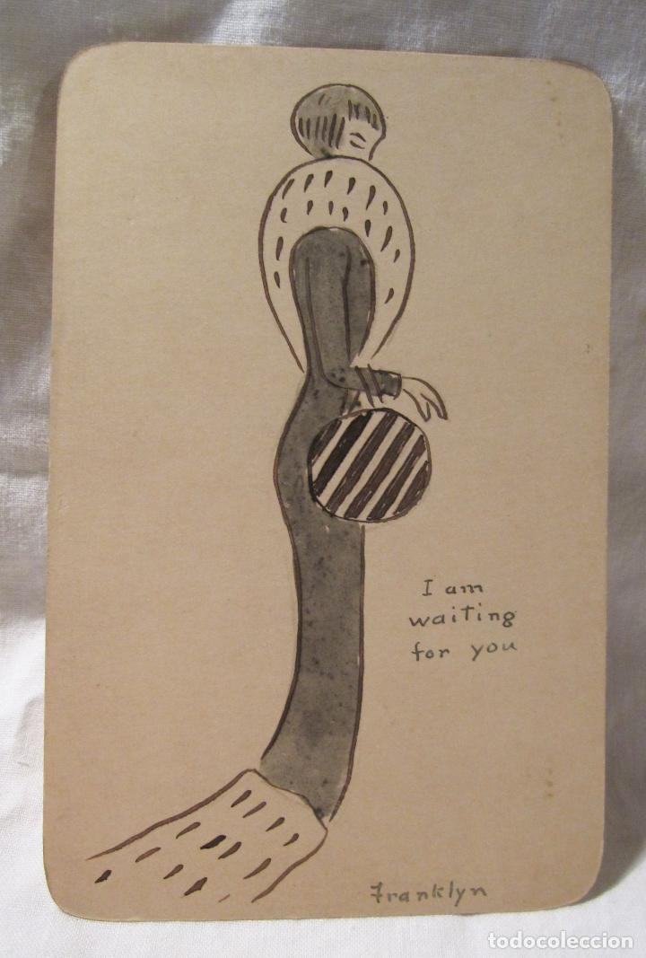 DIBUJO TINTA AGUADA DE FRANKLYN SOBRE UNA POSTAL. I AM WAITING FOR YOU. 14 X 9 CM (Postales - Dibujos y Caricaturas)
