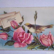 Postales: POSTAL FELICIDADES PÁJARO Y ROSAS ILUSTRA VIVES. Lote 201283741
