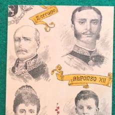 Postales: POSTAL ALFONSO XII, SERRANO, ALFONSO XIII, Mª CRISTINA. BORBÓN. MONARQUÍA. Lote 202362942