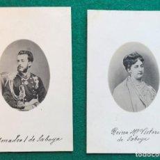Postales: 2 POSTALES DE AMADEO I DE SABOYA Y Mª VICTORIA. MONARQUÍA. Lote 202363062