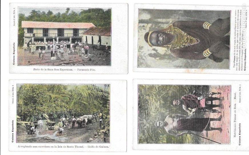 P-11483. GUINEA ESPAÑOLA. LOTE DE 9 POSTALES. SERIE J. NO CIRCULADAS. (Postales - Dibujos y Caricaturas)
