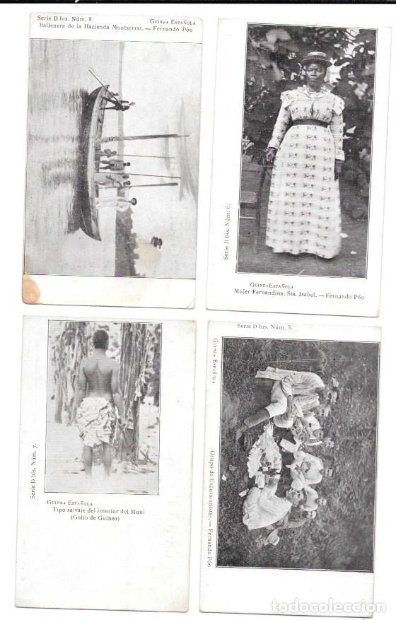 P-11484. GUINEA ESPAÑOLA. LOTE DE 8 POSTALES. SERIE D BIS. NO CIRCULADAS. (Postales - Dibujos y Caricaturas)