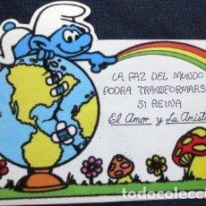 Postales: VINTAGE POSTAL ATERCIOPELADA DE PITUFOS NO 6 AÑOS 80S. Lote 205856062