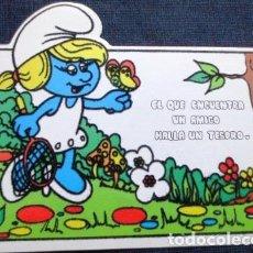 Postales: VINTAGE POSTAL ATERCIOPELADA DE PITUFINA NO 1 AÑOS 80S. Lote 205856465