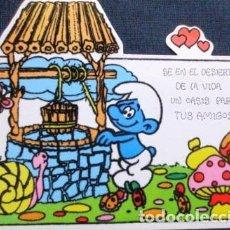 Postales: VINTAGE POSTAL ATERCIOPELADA DE PITUFO NO 7 AÑOS 80S. Lote 205856618