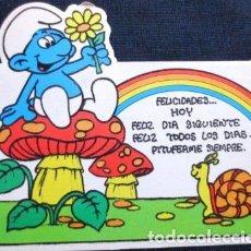 Postales: VINTAGE POSTAL ATERCIOPELADA DE PITUFO NO 3 AÑOS 80S. Lote 205856825