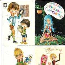 Postales: LOTE DE 12 POSTALES - DE DIBUJOS DE NIÑOS - TODAS ESCRITAS AÑOS 70. Lote 206516723