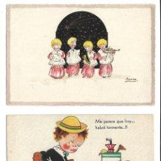 Postales: LOTE DE 10 POSTALES - DE DIBUJOS DE NIÑOS - TODAS ESCRITAS. Lote 206525662