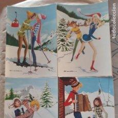 Cartes Postales: LOTE 4 SIMPÁTICAS POSTALES, A ESTRENAR AÑOS 60 Y 70 REF. 3064 CERBER LUSTRACIÓN ESCARRÁ*. Lote 210452553