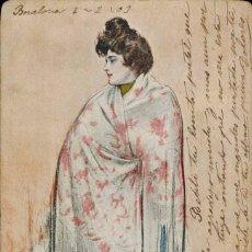 Postales: TARJETA POSTAL LITOGRAFÍA. J. THOMAS. CIRCULADA 1903. Lote 210986462