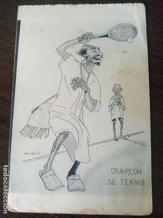POSTAL SIN CIRCULAR. CAMPEÓN DE TENNIS. DIBUJO V DE S. FOTOTIPIA DE HAUSER Y MENET. MADRID. (Postales - Dibujos y Caricaturas)