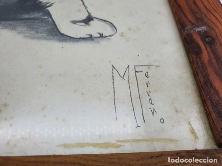 Postales: CUADRO CON DIBUJO A LÁPIZ DE UN PERRO ( AÑO 1960 ) - Foto 5 - 224122667