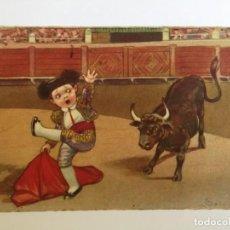 Postales: ANTIGUA POSTAL CON DIBUJO IMPRESO DE TORERO Y TORO.. Lote 221123330