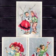 Postales: POSTAL ARTE . 3 POSTALES NIÑOS EN LA NIEVE. B. Lote 221952242