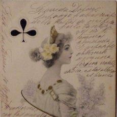Postales: P-11660. DIBUJO COLOREADO DE FELICITACIÓN CON SÍMBOLO TRÉBOL. AÑO 1902. CIRCULADA.. Lote 222549463
