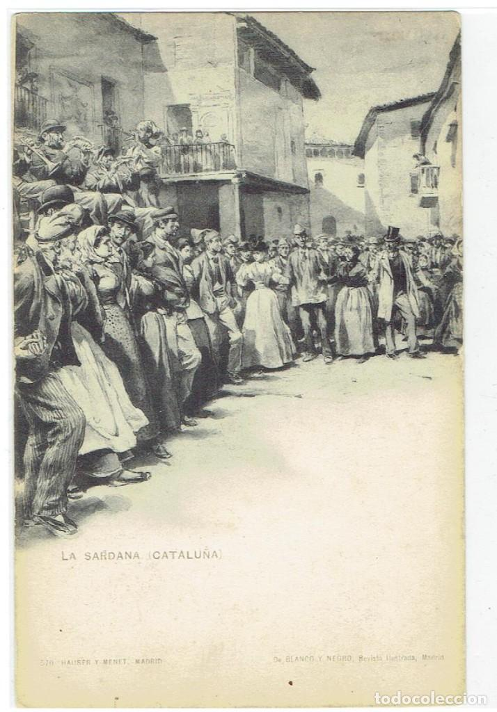 LA SARDANA, CATALUNYA, 570 HAUSER Y MENET, DE BLACO Y NEGRO, RE, S/DV, CIRCULADA CON SU SELLO (Postales - Dibujos y Caricaturas)