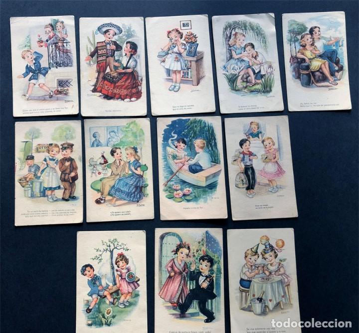 12 POSTALES / MELODIAS EN BOGA / ED. ARTIGAS / ENVIADAS A BAELLS ( HUESCA ) AÑOS 40 (Postales - Dibujos y Caricaturas)