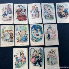 Postales: 12 POSTALES / MELODIAS EN BOGA / ED. ARTIGAS / ENVIADAS A BAELLS ( HUESCA ) AÑOS 40. Lote 222956430