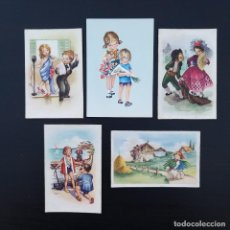 Postales: 5 POSTALES DIBUJO CARITCATURAS ROMANTICAS P642. Lote 223907227