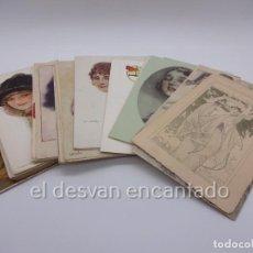 Postales: LOTE 44 POSTALES ILUSTRADAS DE MUJERES. PRIMER TERCIO SIGLO XX. VER FOTOS. Lote 224505131