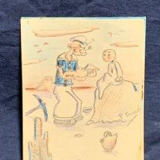 Postales: POSTAL PINTADA MANO POPEYE BEBE FELIZ AÑO NUEVO DESIERTO 1939 FIRMA P CASADO. Lote 225766395