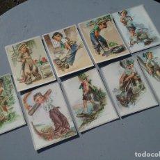 Postales: LOTE DE NUEVE POSTALES ALEMANAS AÑOS 50 DIBUJOS NIÑOS. Lote 226673560