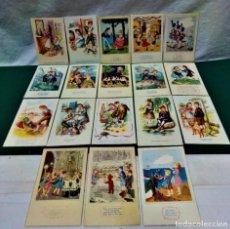 Postales: LOTE 18 POSTALES FELICITACIÓN ILUSTRADAS.AÑOS 40 Y 50.EDITORIAL ARTIGAS.BARCELONA.14 ESCRITAS.. Lote 227587025