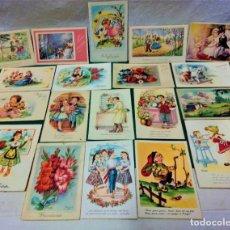 Postales: LOTE 19 POSTALES FELICITACIÓN ILUSTRADAS. ED ARTIGAS.AÑOS 40 Y 50.ESCRITAS.DIBUJOS GIRONA,ZSOLT,ETC.. Lote 227888675