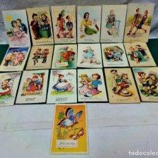 Postales: LOTE 19 POSTALES FELICITACIÓN ILUSTRADAS..EDICIONES TRIO,M.S Y RAM.AÑOS 40 Y 50. Lote 227894010