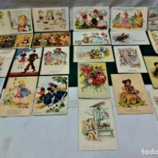 Postales: LOTE 23 POSTALES FELICITACIÓN ILUSTRADAS..EDICIONES JRR,CIMA Y COLÓN.AÑOS 40 Y 50. Lote 227894585