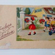Postales: P156 TARJETA DIBUJO FELICITACION MUCHAS FELICIDADES 844. Lote 229377765