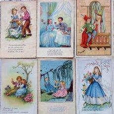 Cartoline: P-12145, COLECCIÓN DE 9 POSTALES INFANTILES COLOREADAS. AÑOS 40-50. CIRCULADAS.. Lote 235317565