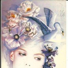 Cartes Postales: POSTAL BONITA CHICA CON ADORNO FLORAL Y CISNE - 1989. Lote 236008900