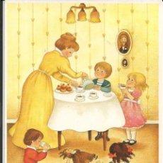 Cartoline: POSTAL NIÑOS TOMANDO CHOCOLATE EN LA MERIENDA - 1989. Lote 244438375
