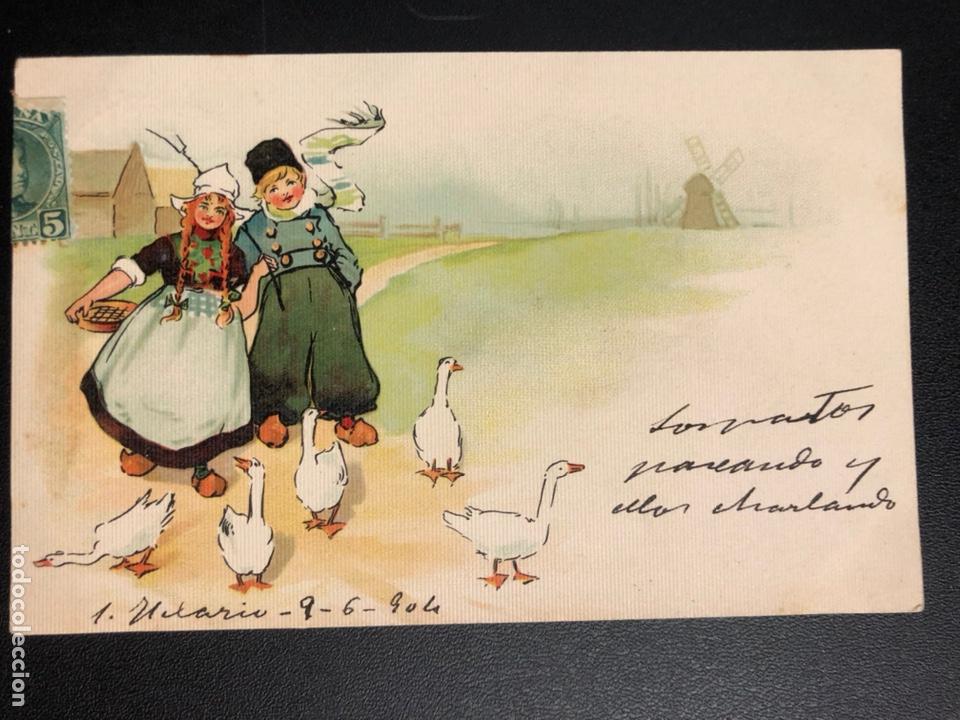 TARJETA POSTAL DIBUJO HOLANDESES PATOS (Postales - Dibujos y Caricaturas)