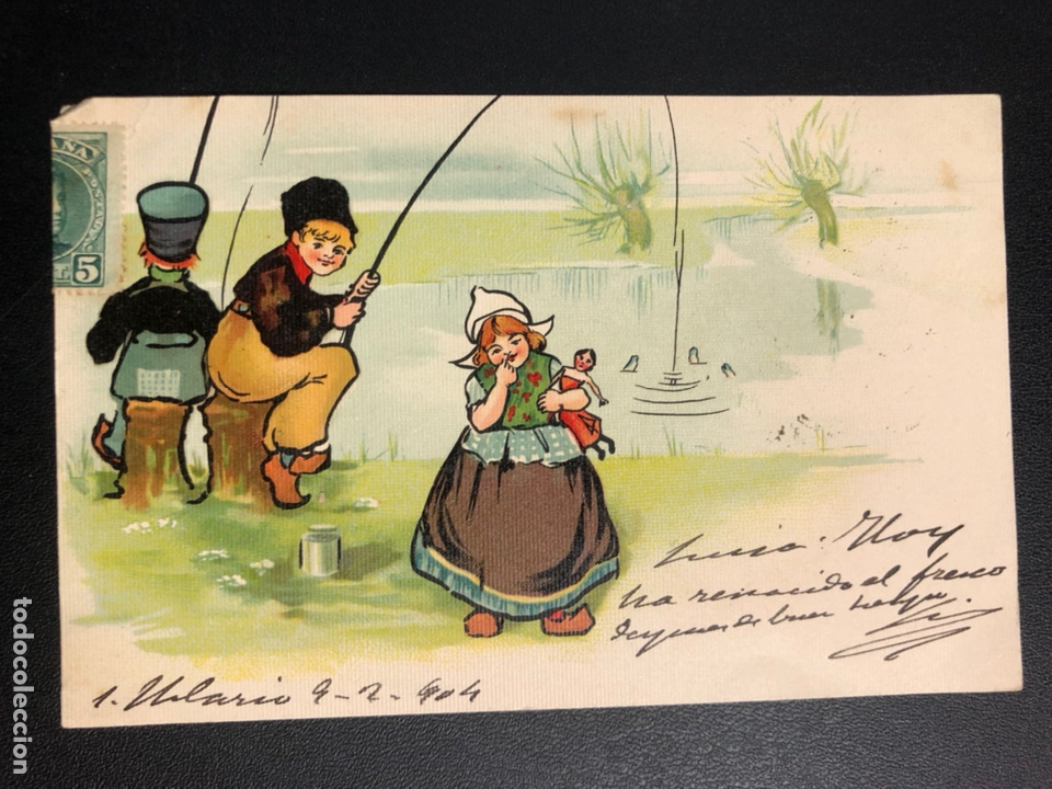 TARJETA POSTAL DIBUJO HOLANDESES PESCANDO (Postales - Dibujos y Caricaturas)