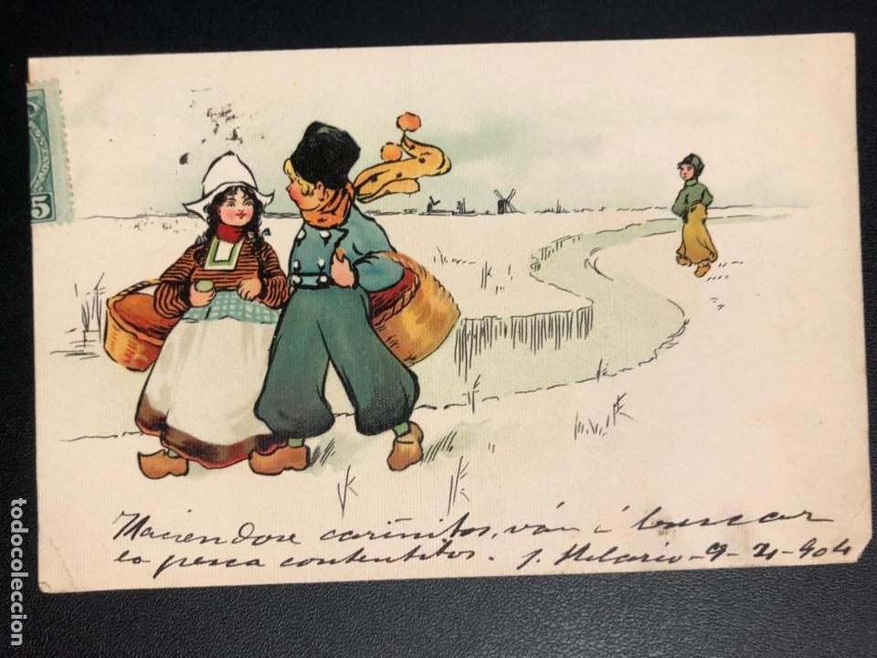 TARJETA POSTAL DIBUJO HOLANDESES NIEVE (Postales - Dibujos y Caricaturas)