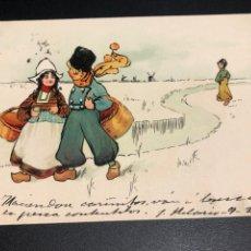 Postales: TARJETA POSTAL DIBUJO HOLANDESES NIEVE. Lote 245311845