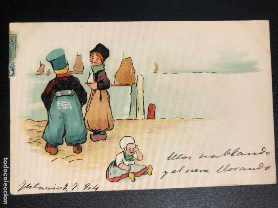 TARJETA POSTAL DIBUJO HOLANDESES PLAYA (Postales - Dibujos y Caricaturas)