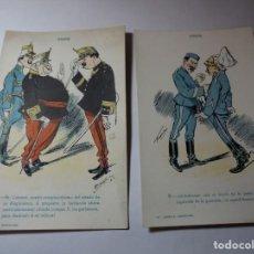 Postales: MAGNIFICA COLECCION COMPLETA DE 10 POSTALES ANTIGUAS DE LOS AÑOS 20 TROPA ILUSTRADAS POR FRADERA. Lote 245490650