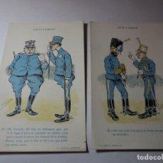 Postales: MAGNIFICA COLECCION COMPLETA DE 10 POSTALES ANTIGUAS AÑOS 20 LOS DE A CABALLO ILUSTRADAS FRADERA. Lote 245490930