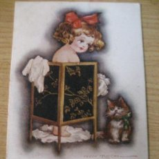 Postales: ANTIGUA POSTAL ILUSTRACION FRED SPURGIN . NIÑA CON GATO . ESCRITA EN TRASERA. Lote 246569395