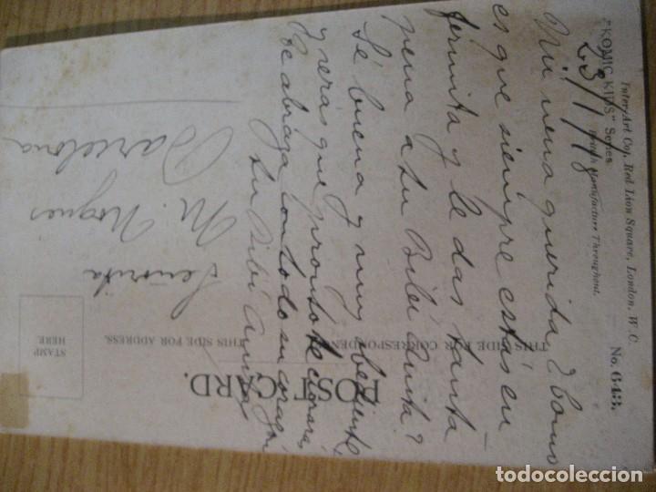 Postales: antigua postal ilustracion fred spurgin . niña con gato . escrita en trasera - Foto 3 - 246569395