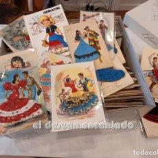 Postales: LOTE + DE 200 POSTALES, MUCHAS BORDADAS. AÑOS 1960S. TOROS-TRAJES REGIONALES-BAILAORAS.... Lote 248004835