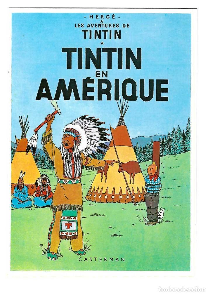 POSTAL- LES AVENTURES DE TINTIN. TINTIN EN AMERIQUE. HERGE. CASTERMAN. ARNO. DIBUJOS- SIN CIRCULAR (Postales - Dibujos y Caricaturas)