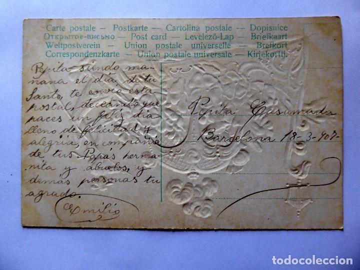 Postales: P-12602. ANTIGUA POSTAL ITALIANA. DIBUJO GONDOLA LLENA DE FLORES. CIRCULADA. AÑO 1907. CON RELIEVE - Foto 3 - 253558520