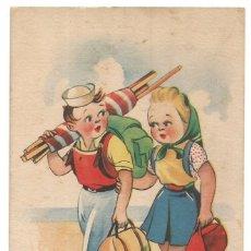 Postales: POSTAL DIBUJO CARICATURA NIÑOS ILUSTRADA TRIO ED TREBOL SERIE C AÑO 1942. Lote 255396615