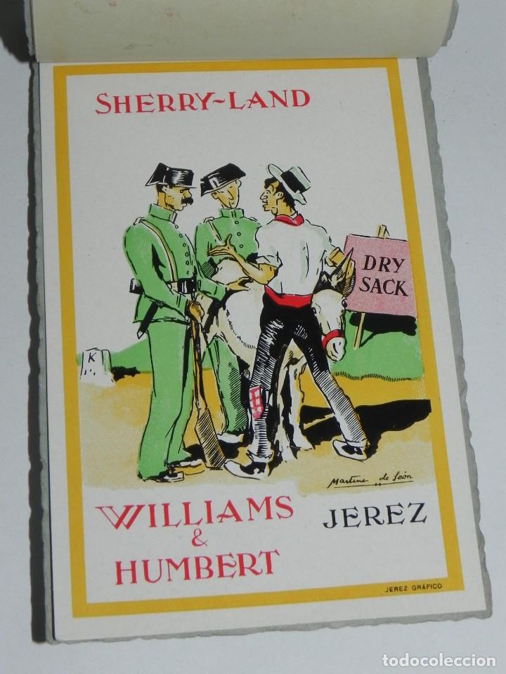 ANTIGUO ALBUM DE 10 POSTALES.WILLIAMS & HUMBERT.JEREZ FRONTERA.DIBUJOS MARTINEZ DE LEON. (Postales - Dibujos y Caricaturas)